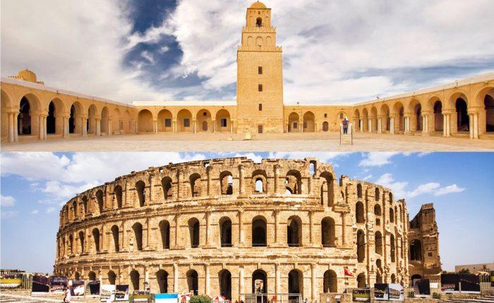 Kairouan mosque-El Djem amphitheater